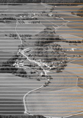 Litzelhausen in schwarz-weiss, durchsetzt mit Linien