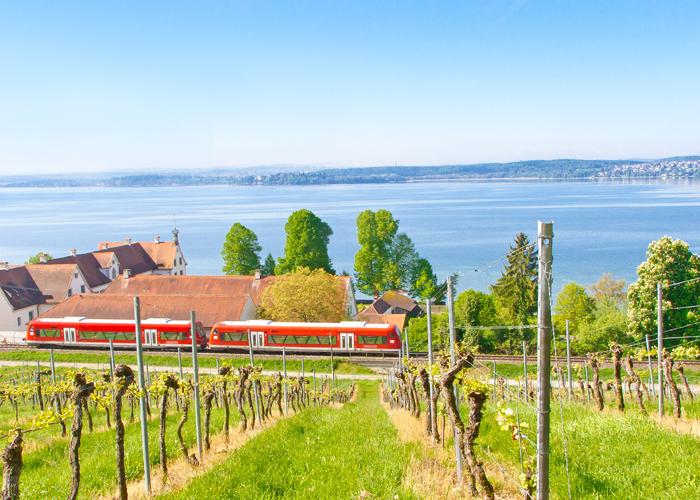 Blick auf den Bodensee vom Kloster Birnau