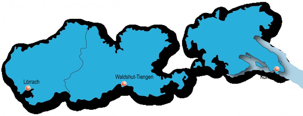 Karte von den Landkreisen mit Kreisstädten im Regionalverband.