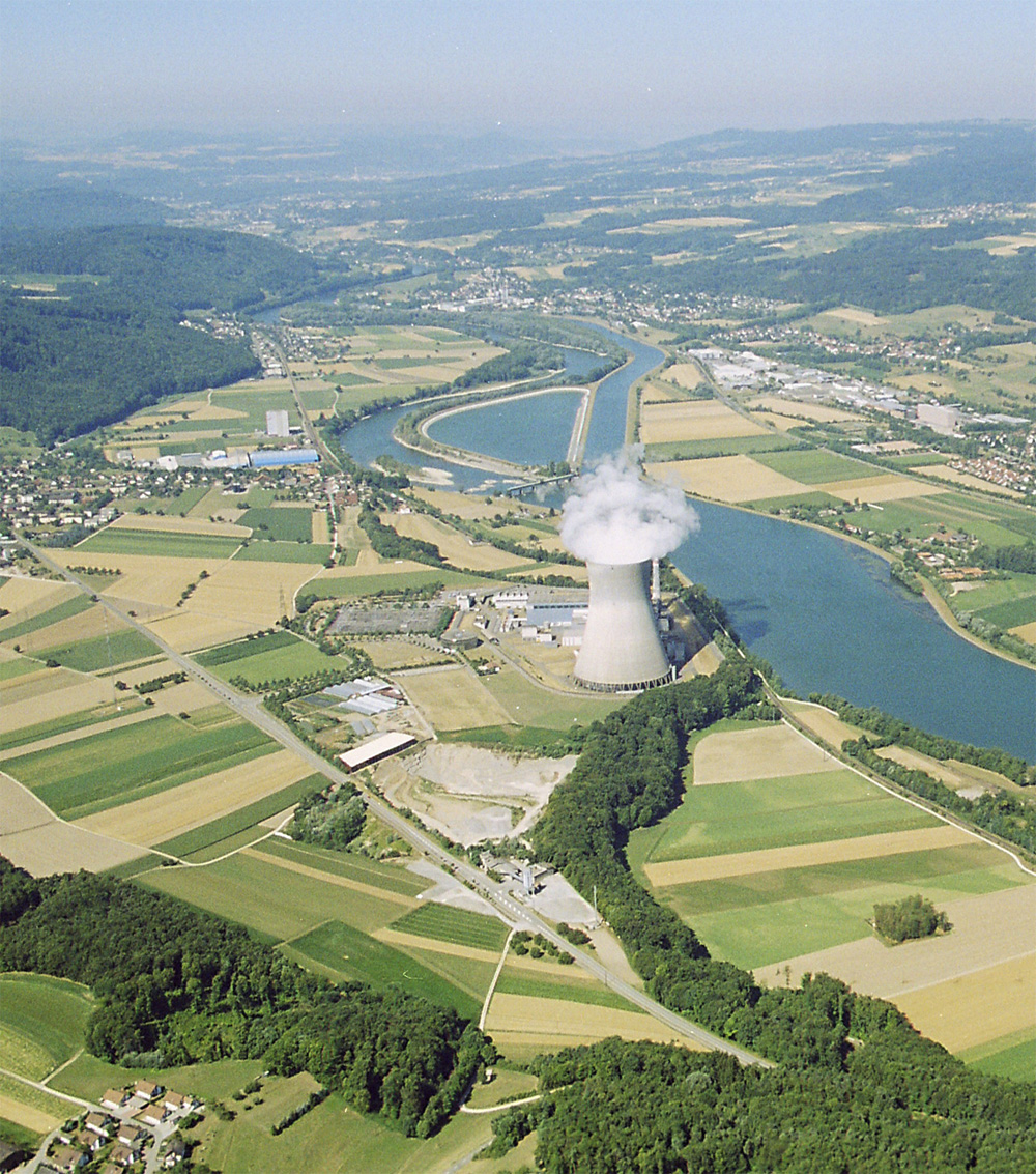 D-A-CH Gebiet - Hochrhein mit Leibstadt.
